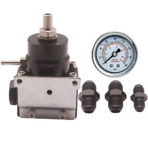 Black High Pressure Fuel Regulator With Boost 8an 8 8 6 Pressure Regulator Gauge