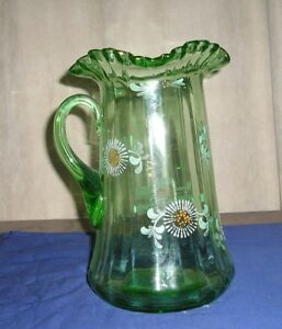 Antique Victorian Green Glass Pitcher Enameled Painting Ruffled Rim