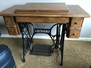 Vtg Antique Singer Treadle Sewing Machine Table Cabinet Cast Iron Wood Tiger Oak