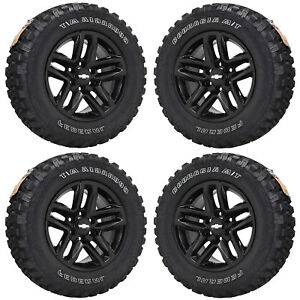 18 Chevrolet Silverado 1500 Truck Black Wheels Tires Factory Oe 2019 Set 96098