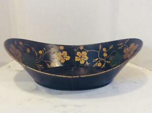 Antique Toleware Oval Bread Tray Bowl Stenciled Nasturtiums Leaves On Black