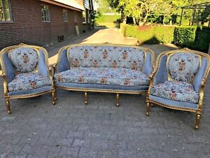 Antique Sofa Settee With Two Chairs In French Style