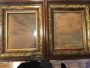 Pair 2 Antique Victorian Eastlake Deep Shadow Box Frame 3 Tiered Wood Gold 8x10