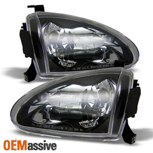 Fits 93 97 Honda Del Sol Jdm Black Clear Crystal Headlights Lamp Left right Pair