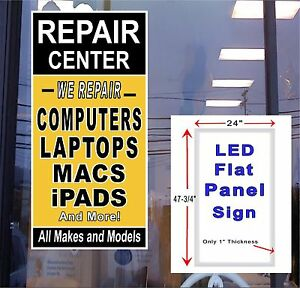 Repair Center Computers Laptops Led Sign 48x24 Vertical Neon Banner Alternative