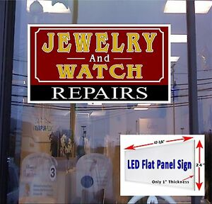 We Repair Jewelry Watches Led Flat Panel Light Box Window Sign 48x24