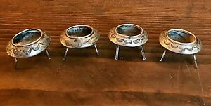 Four Vintage Navajo Sterling Or Coin Silver Salt Cellars Two Marked Eby