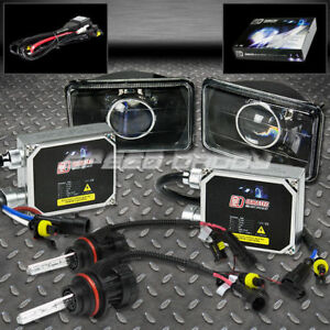 4x6 Projector Black Lens Headlight 6000k H4 Hid High Low Beam Thick Ballast Kits