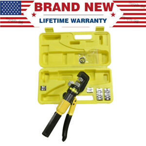 10 Ton Hydraulic Pliers Wire Battery Cable Lug Terminal Crimper Crimping Tool Us