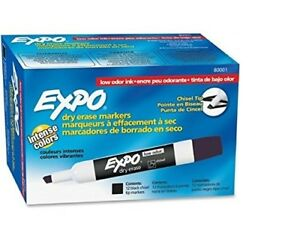 12 Dozen Of Expo Low odor Dry Erase Markers Chisel Tip 12 pack Black