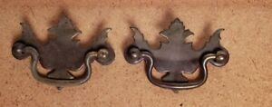 Pr Vintage Brass Plated Metal Chippendale Style Drawer Pulls 2 1 2 Ctr To Ctr C