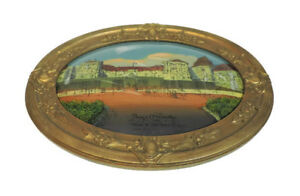Antique Convex Bubble Glass Oval Reverse Painting Palace Of Versailles 24 X 19