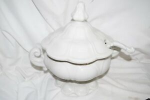 Vintage White Scallop Ironstone Covered Soup Tureen Ladle Cross Meissen Mark