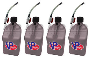 4 Pack Vp Racing Silver 5 Gallon Square Fuel Jug 4 Shut Off Hoses water gas Can