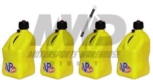 4 Pack Vp Racing Yellow 5 Gallon Square Fuel Jugs 1 Deluxe Hose water gas Can