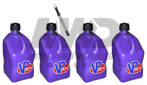 4 Pack Vp Racing Purple 5 Gallon Square Fuel Jugs 1 Deluxe Hose water gas Can