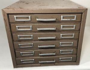 Vintage 6 Drawer 5x8 Index Card Holder Filing Cabinet