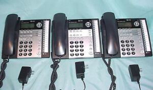 Lot 3 At t 1080 4 Line Small Business System Black Corded Desk Office Phones