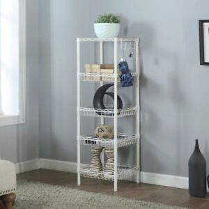 51x14x14 Heavy Duty 5 Layer Wire Shelving Rack Adjustable Shelf Storage White