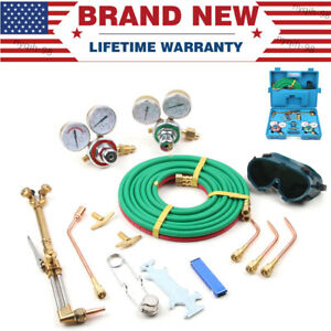 Portable Oxy Acetylene Gas Burning Cutting Complete Kit Welding Tools W Box
