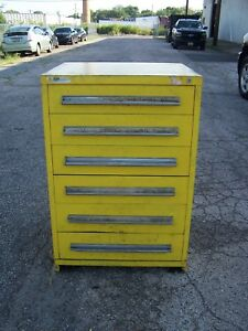 Stanley Vidmar Yellow 6 Drawer Industrial Tool parts Cabinet 30 l X 28 w X 44 H