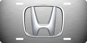 Honda Vehicle License Plate Auto Tag Silver Brushed Aluminum 0033