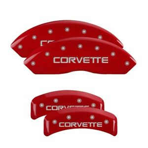 Mgp Caliper Covers Engraved Front Rear For 1988 96 Chevrolet Corvette Red