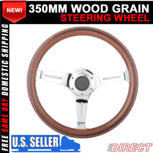 For Universal Jdm 350mm 6 hole Dark Wood Grain Dish Black Trim Steering Wheel