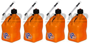 4 Pack Vp Racing Orange 5 Gallon Square Fuel Jug 4 Deluxe Hoses water gas Can