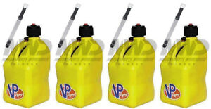 4 Pack Vp Racing Yellow 5 Gallon Square Fuel Jug 4 Deluxe Hoses water gas Can