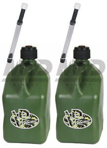 2 Pack Vp Racing Camo 5 Gallon Square Fuel Jug 2 Deluxe Hose water jerry Gas Can