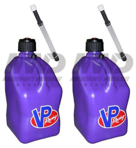 2 Pack Vp Racing Purple 5 Gallon Square Fuel Jug 2 Deluxe Hoses water gas Can