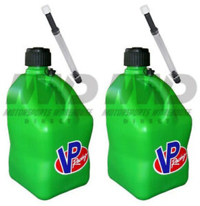 2 Pack Vp Racing Green 5 Gallon Square Fuel Jug 2 Deluxe Hoses water gas Can
