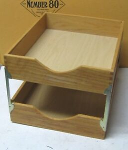 Vintage Two Tier Wood Desk Tray In out Tray Letter Size Clean Solid