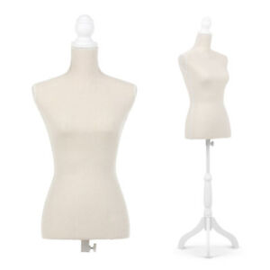 Female Mannequin Dress Body Form Beige W Simple Cover Tripod Wooden Base B4n4