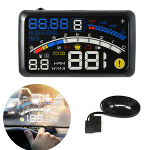 5 5 Car Hud Head Up Display Obd2 Dashboard Speedometer Projector Speed Warning
