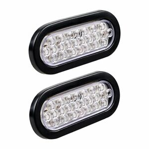 2x White 24 Led 6 Oval Clear Reverse Back Up Clearance Tail Light Truck Trailer