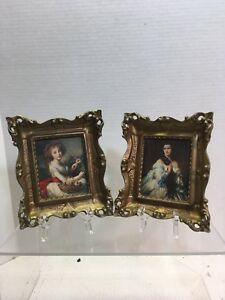 Estate Lot 2 Small Gilded Framed Prints Frames Felt Backing Made Italy A24