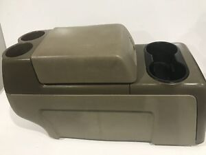 2004 2008 Ford F150 Floor Center Console Armrest Cup Holders Tan