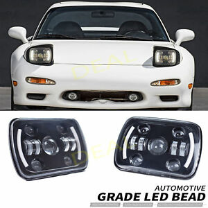 2pcs 7x6 Square Amber Turn Signal White Halo Drl Led Projector Head Lights Lamps