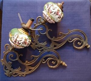 Victorian Antique Pair Brass Alloy Gas Light Fixtures W Ceramic Decor Unique