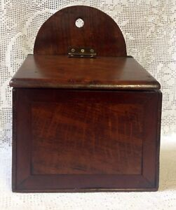 Antique Georgian Early 19th Century Stained Pine Wood Salt Box