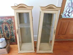 Matched Pair Of Wood Glass Display Cabinets Showcases 49 5 H X 19 W X 15 D
