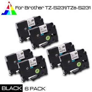 6pk Tzes231 Tzs231 Black On White Label Tape For Brother P touch Pt 9200dx 12mm