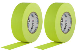 2 Pack Bundle 2 Inch Neon Yellow Pro Gaffer Gaffers Tape 50 Yd Rolls