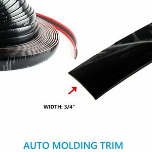 3 4 Width Molding Trim Black Car Roof Door Side Decorate 16feet Moulding Strip