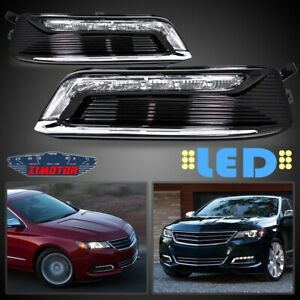 Fit 14 19 Chevy Impala Pair Oe Led Drl Fog Light wiring switch Kit Clear Lens