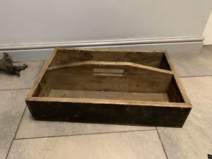 Vintage Antique Carpenters Wooden Tool Tray Tools Holder Toolbox Handmade