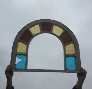 Antique Arched Dome Top Stained Glass Window Sash Shabby Vtg Chic 25x31 503 18c