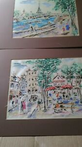 Antique Old Paris 2 Watercolors Signed By P Renyes